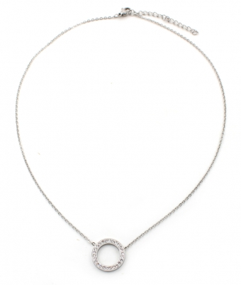 Ketting Cirkel strass stainless steel zilver