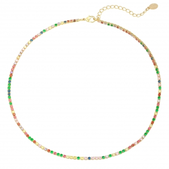 Ketting Color zirconia goud-multi