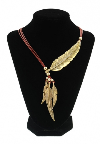 Ketting Feathers bruin-goud