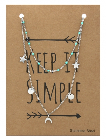 Ketting 2-laags Stars & Coins zilver-turquoise