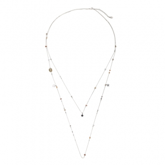 Ketting 2 laags stars & Beads zilver-bruin