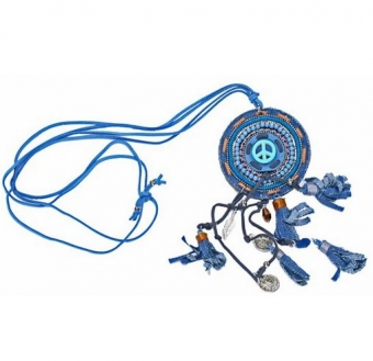 Ketting lang Boho Peace jeans-blauw