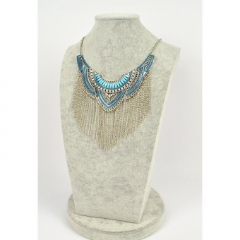 Ketting luxe steentjes, strass & franjes blauw