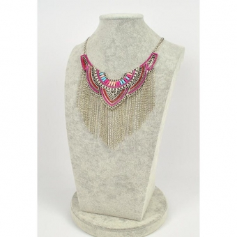 Ketting luxe steentjes, strass & franjes roze