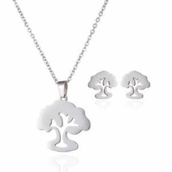 Ketting set Tree of Life stainless steel zilver