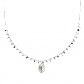Ketting Beads & Shell zilver-multicolor