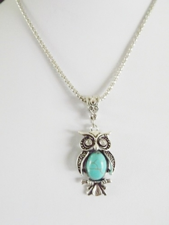 Ketting Boho Uil zilver-turquoise