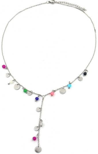 Ketting Y Coins & Beads RVS zilver-multi