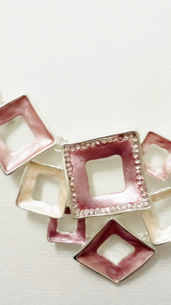 Ketting Squares roze-zilver
