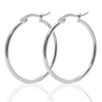 Oorbellen Hoops 45 mm stainless steel zilver