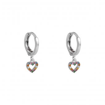 Oorbellen Hoops & Heart zilver-color-zirconia