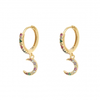 Oorbellen Hoops & Moon goud-color-zirconia