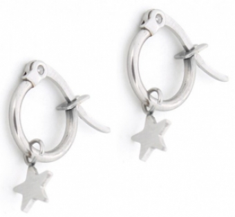 Oorbellen Hoops & Star stainless steel zilver