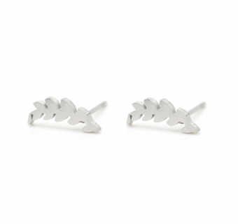 Oorbellen Feather studs stainless steel zilver