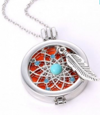 Parfum locket dreamcatcher zilver