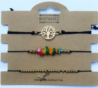 Armband set a 3 fijn Boho Beads & Tree of Life zwart